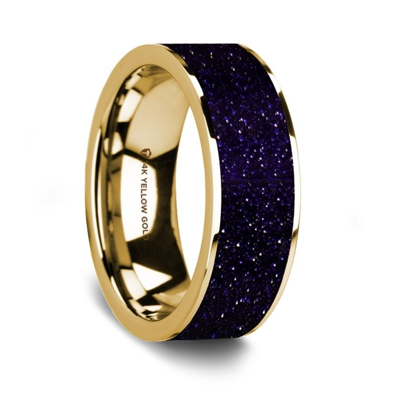 Flat Polished 14K Yellow Gold Wedding Ring with Purple Goldstone  Inlay - 8 mm