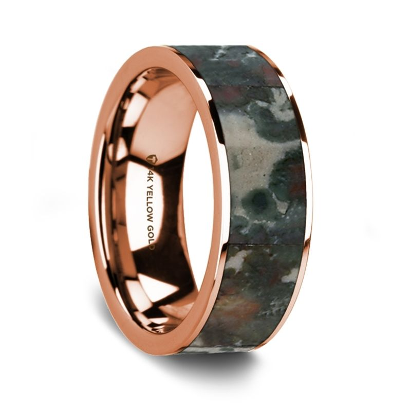 Flat Polished 14K Rose Gold Wedding Ring with Coprolite Fossil Inlay - 8 mm