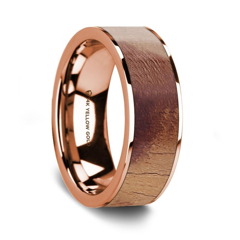 Flat Polished 14K Rose Gold Wedding Ring with Olive Wood Inlay - 8 mm