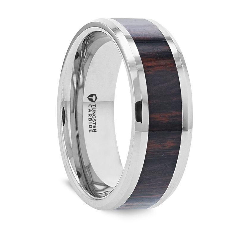 AZTEC Mahogany Inlaid Tungsten Carbide Ring with Polished Beveled Edges – 8mm