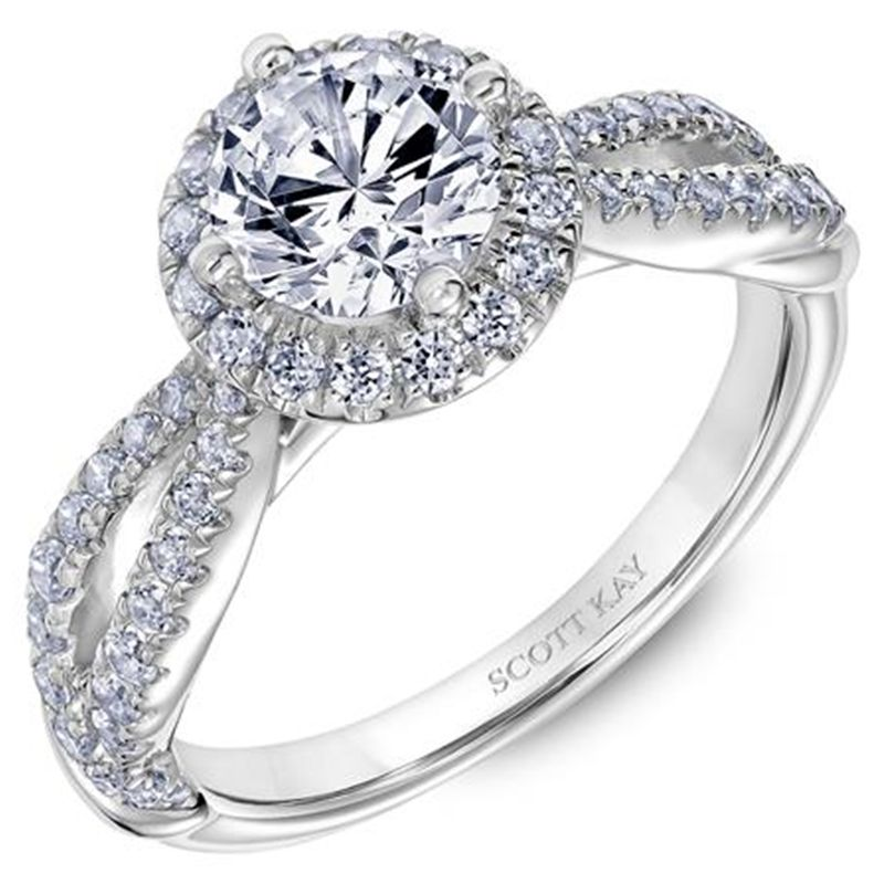 Ladies Engagement Ring with Diamond Twisted and Open Shank Setting  by Scott Kay