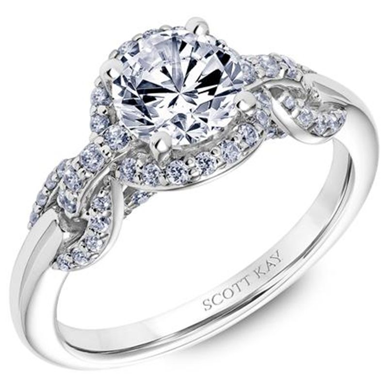 14kt-white-gold-beauty-ladies-engagement-ring-by-scott-kay-with-round-diamond-halo-and-interlocking-diamond-links-down-the-shank