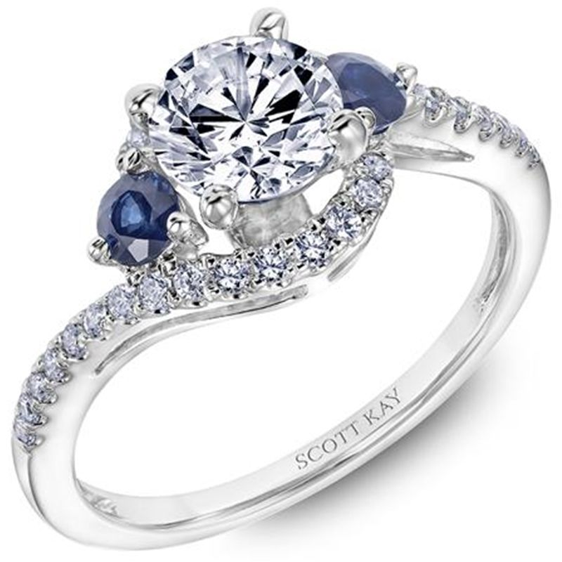 14kt White Gold Beauty Ladies Engagement Ring with Blue Sapphires and a Bypass Diamond Shank By Scott Kay