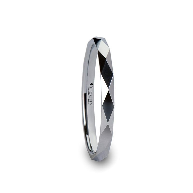 WICHITA Diamond Faceted 2mm White Tungsten Ring for Her