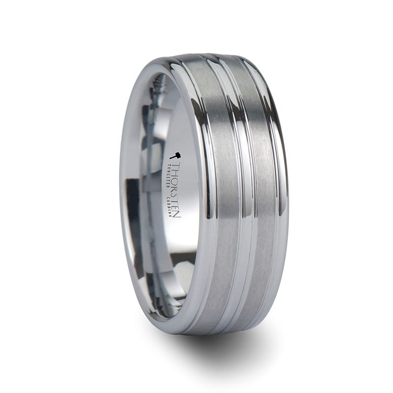 VANCOUVER White Tungsten Wedding Band with Triple Grooves - 8mm