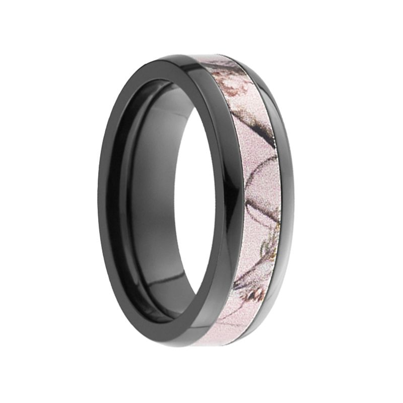 AMAZON Domed Black Zirconium Ring with Pink Camo Inlay by Lashbrook Designs - 6mm