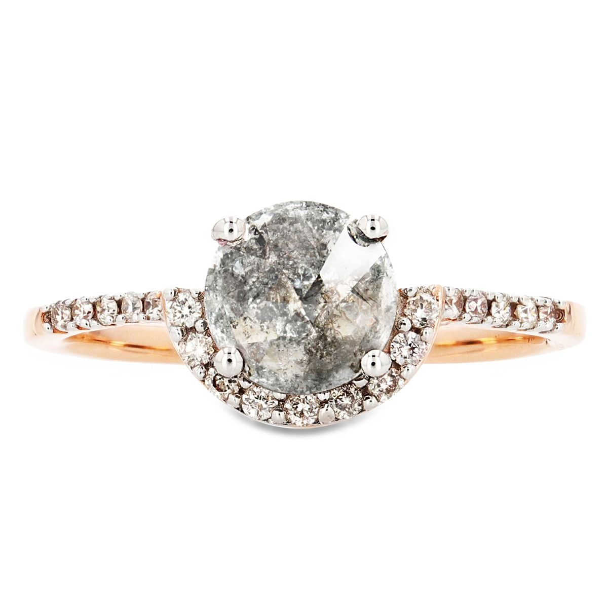 14k Rose Gold Round Salt and Pepper Diamond Ring with White Diamond Half Halo and Sidestones