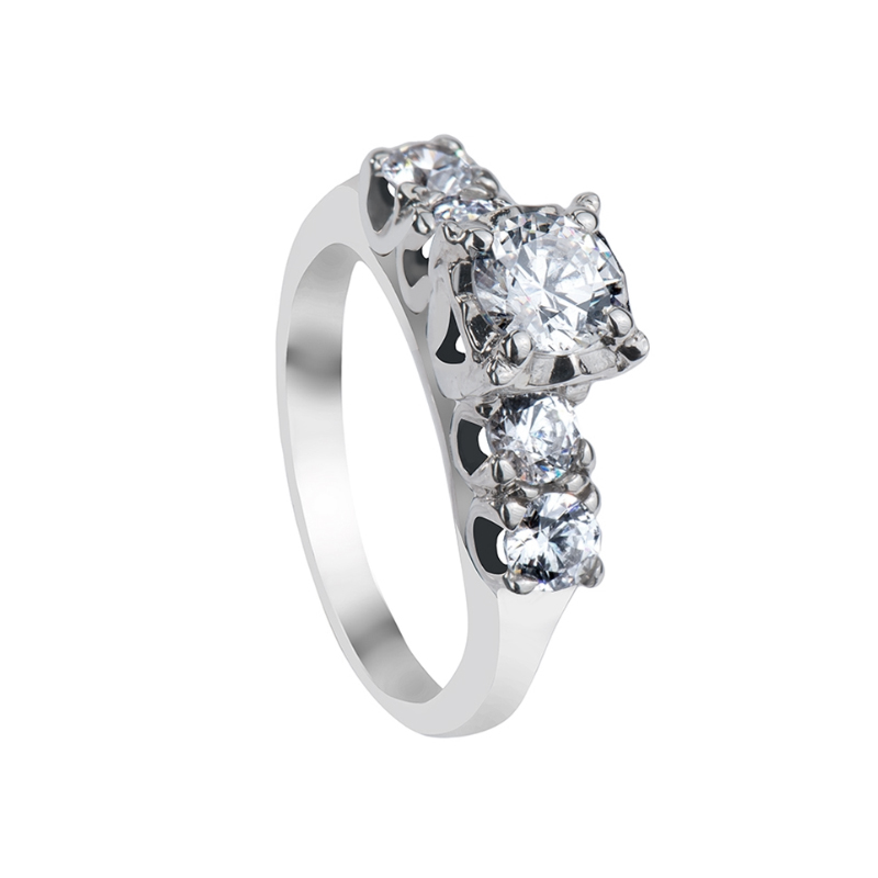 ANNABEL Five Stone Engagement Ring with Polished Finish -MADE WITH SWAROVSKI