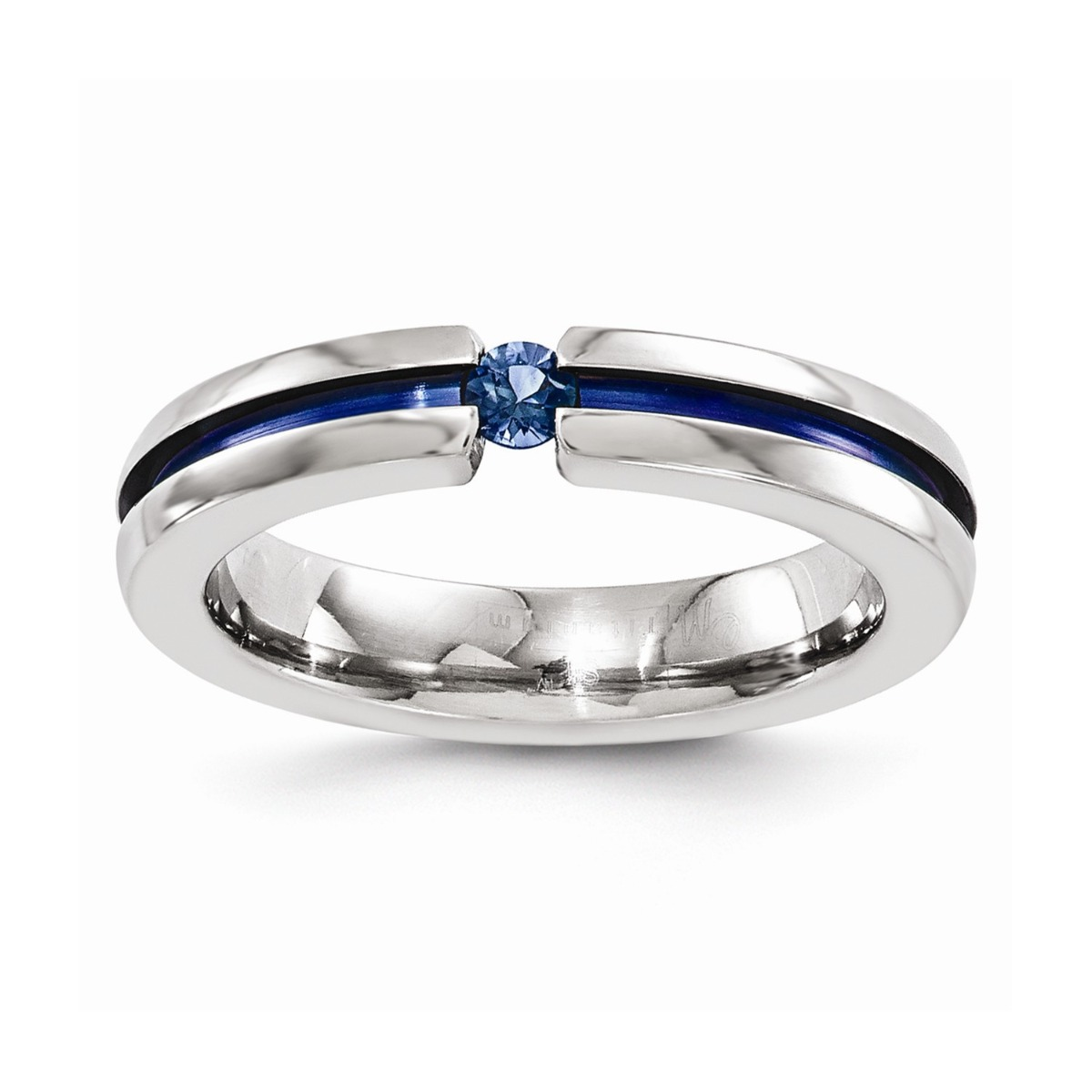 Edward Mirell Titanium Sapphire & Blue Anodized Grooved 4mm Band