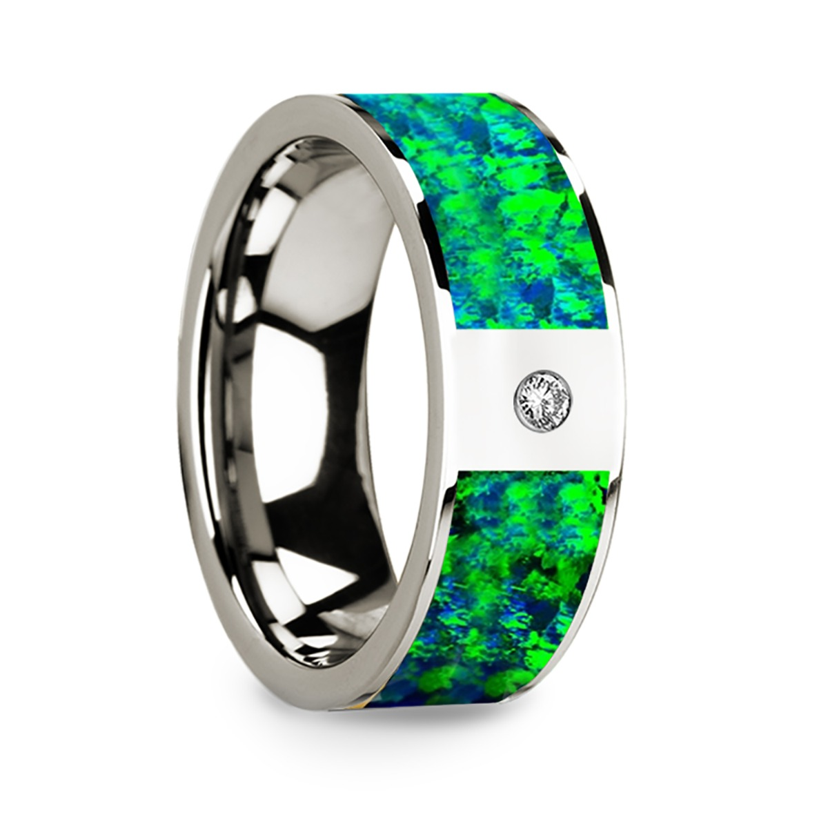Men's Polished 14k White Gold & Green/Blue Opal Inlay Wedding Ring with Diamond - 8mm