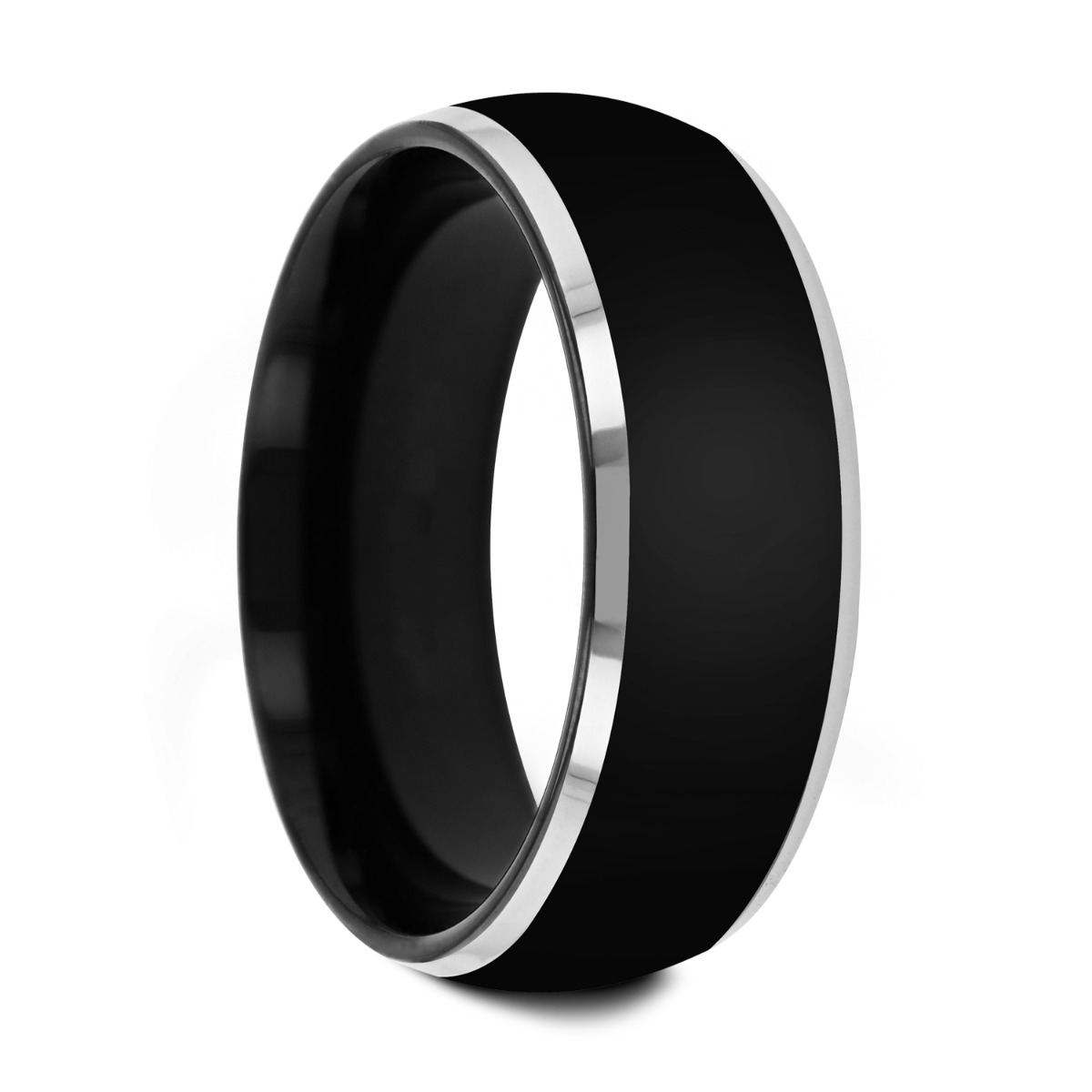 MASERATI  Black Tungsten Ring with Polished Domed Beveled Edges - 4mm - 10mm
