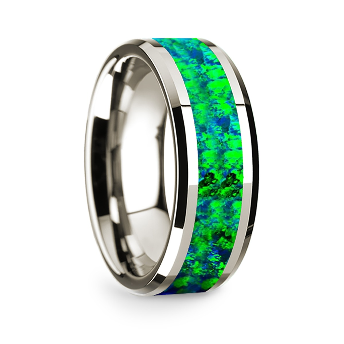 14k White Gold Polished Beveled Edges Wedding Ring with Blue and Green Opal Inlay - 8 mm