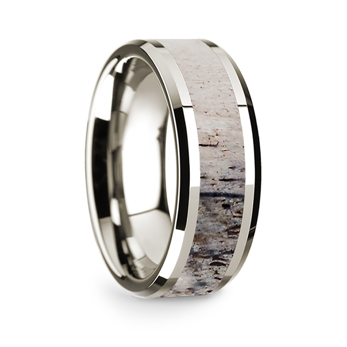 14k White Gold Polished Beveled Edges Wedding Ring with Ombre Deer Antler Inlay - 8 mm