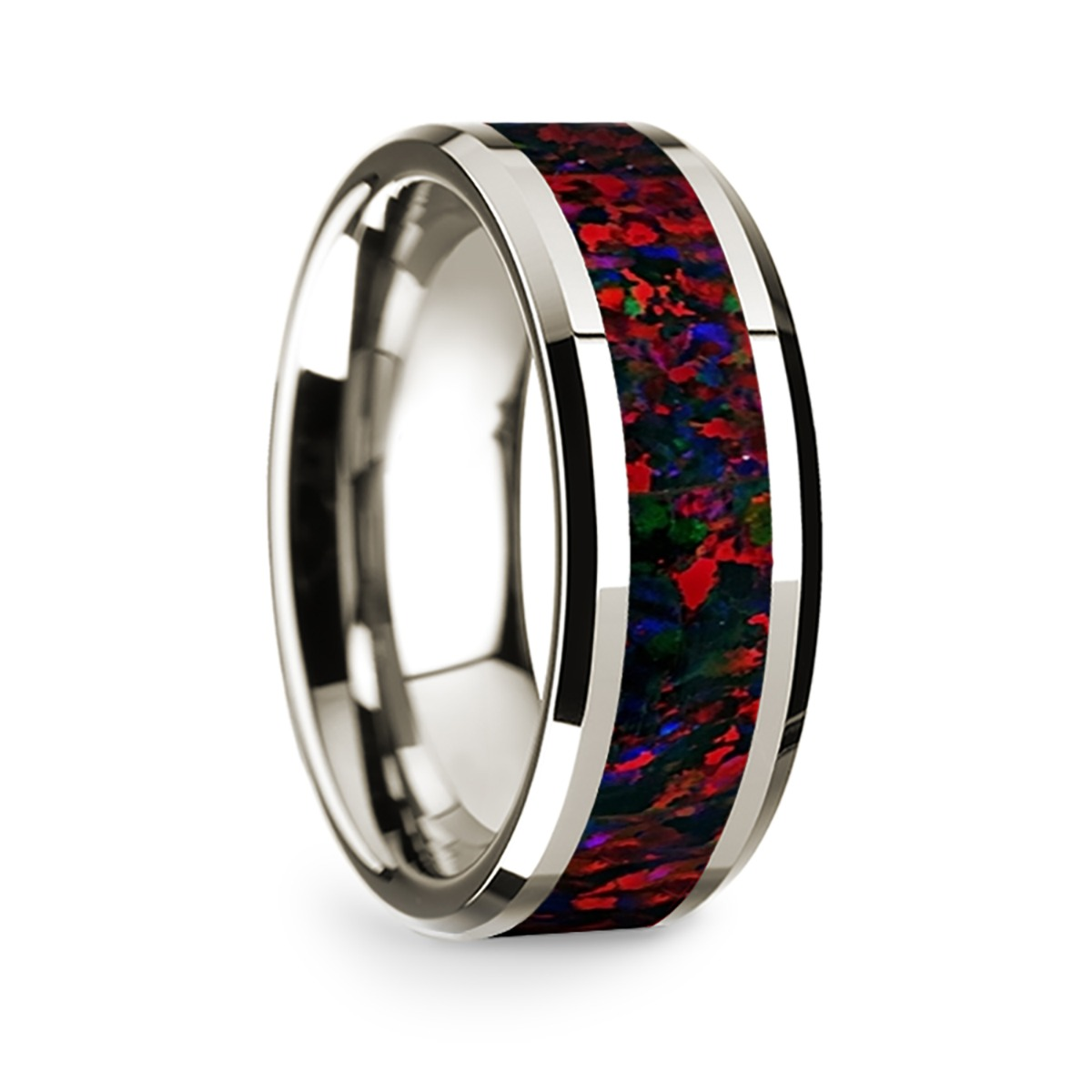 14k White Gold Polished Beveled Edges Wedding Ring with Black and Red Opal Inlay - 8 mm