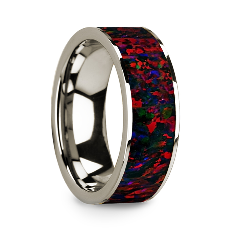 Flat Polished 14k White Gold Wedding Ring with Black and Red Opal Inlay - 8 mm