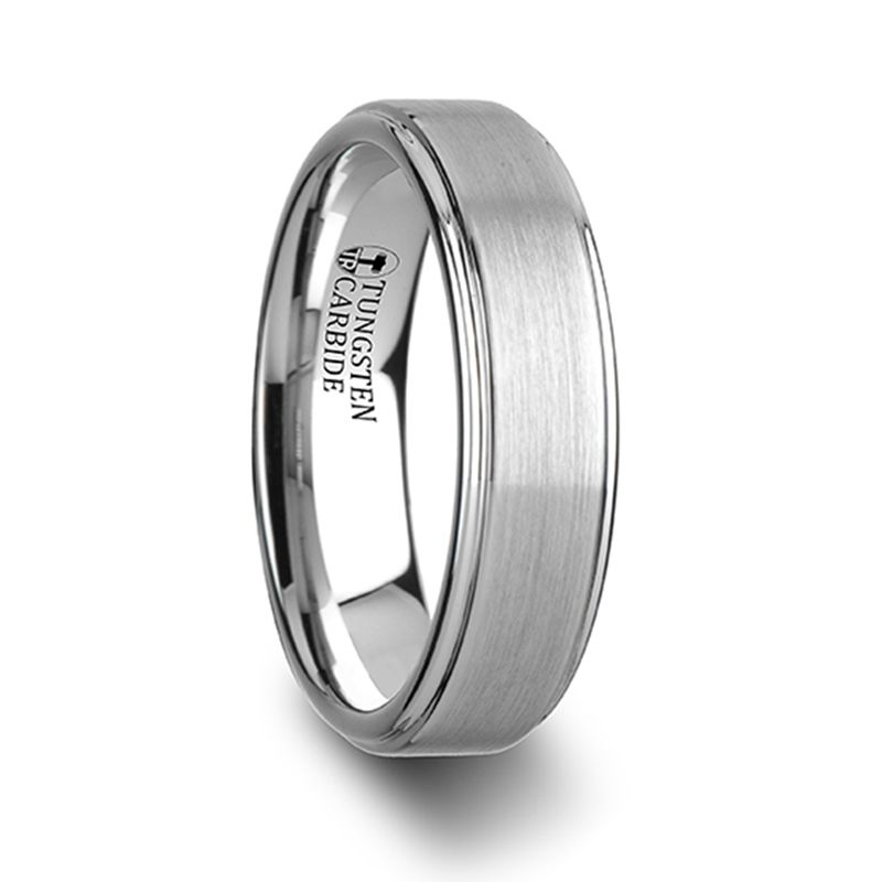 Centurion 14k Gold Inlaid Domed Tungsten Ring 6mm Or 8mm Larson Jewelers
