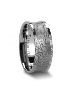 Fingerprint Ring Engraved Concave Tungsten Ring Brushed Center - Trevico - 8mm
