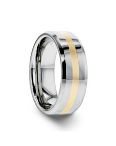 LEGIONAIRE Gold Inlaid Beveled Tungsten Ring - 6mm & 8mm