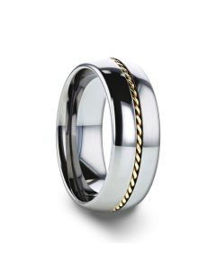 GOLDWYN Braided 14k Gold Inlay Domed Tungsten Ring - 6mm or 8mm