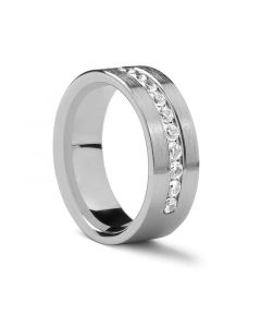 Flat Brushed Palladium Ring with .72 ct Diamonds by Benchmark - 8 mm