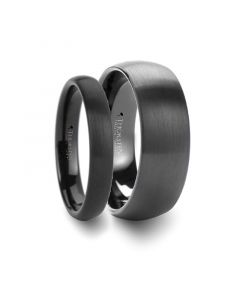 Matching Rings Set Domed Brush Finished Black Tungsten Wedding Band - 4mm & 8mm