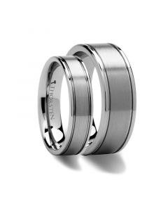 Matching Rings Set Flat Satin Finish Tungsten Carbide Ring - 6mm & 8mm
