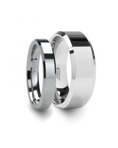 Matching Rings Set Beveled Tungsten Ring - 4 mm & 8 mm