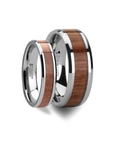 Matching Rings Set Tungsten Wedding Band with Bevels and Rosewood Inlay - 6 mm & 8 mm