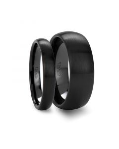 Matching Rings Set Domed Brush Finished Black Ceramic Wedding Band - 4mm & 8mm