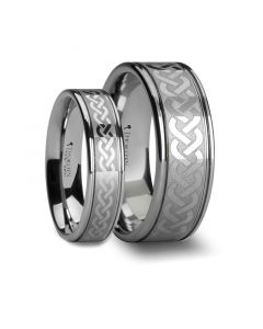 Matching Rings Set Celtic Knot Laser Engraved Tungsten Wedding Ring - 6mm, 8mm, & 10mm