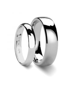 ARLINGTON Matching Rings Set Domed White Tungsten Wedding Band - 4 mm & 8mm