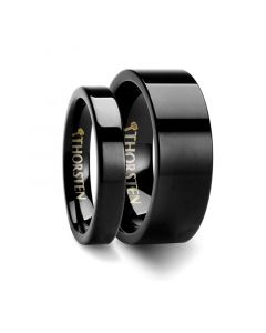 Matching Rings Set Flat Black Tungsten Carbide Wedding Ring - 4mm & 8mm