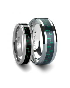 ATRONIUS Matching Rings Set Tungsten Carbide Wedding Band with Black & Green Carbon Fiber Inlay - 6mm & 8mm