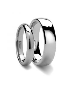 Matching Rings Set Domed Tungsten Carbide Wedding Ring - 2mm - 12mm