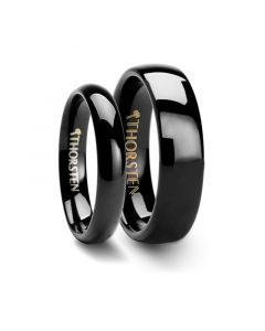 Matching Rings Set Domed 4mm & 6mm Black Tungsten Carbide Wedding Band