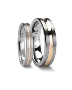 Matching Rings Set 4 mm & 6mm Flat Brushed Finish Tungsten Ring with Rose Gold Channel
