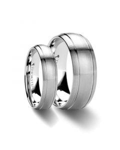 Matching Ring Set Domed Brush Finished Tungsten Carbide Ring with Dual Grooves - 6mm & 8mm