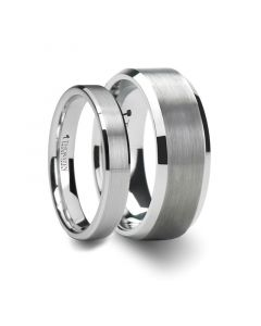 Matching Ring Set Brushed Center White Tungsten Ring with Beveled Edges - 4mm& 8mm