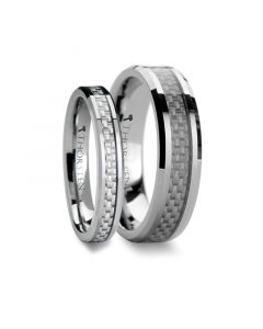 Matching Ring Set Beveled Tungsten Wedding Band with White Carbon Fiber 4 mm & 8 mm