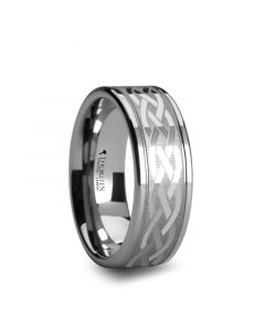PAETUS Flat Dual Offset Grooved Tungsten Ring with Celtic Design - 8 mm & 10 mm
