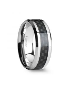 MAXIMUS Black Carbon Fiber Inlay Tungsten Carbide Wedding Band - 4mm - 12mm