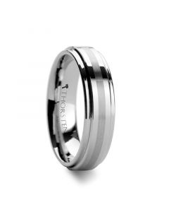 VALKYRIE Raised Center Tungsten Ring with Brushed Stripe 6 mm & 8mm