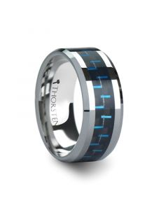 AUXILIUS Tungsten Carbide Ring with Black & Blue Carbon Fiber Inlay  - 10mm