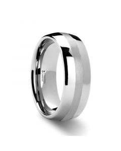 PONTUS Platinum Inlaid Domed Tungsten Wedding Ring - 6mm & 8mm