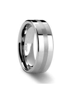 IVAR Platinum Inlaid Flat Tungsten Wedding Band - 6mm & 8mm