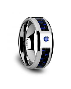 NEPTUNE Tungsten Carbide Ring with Black and Blue Carbon Fiber and Blue Sapphire Setting with Bevels - 8mm