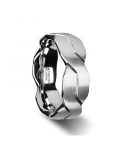 FOREVER White Tungsten Ring with Brushed Carved Infinity Symbol Design - 6mm - 10mm
