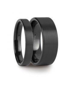 Matching Ring Set Flat Pipe Cut Black Tungsten Ring with Brushed Finish - 4mm & 8mm