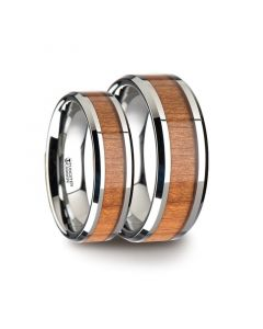 Matching Ring Set Tungsten Wedding Ring with Polished Bevels and Black Cherry Wood Inlay - 6 mm & 8mm