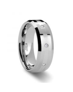 NEWPORT Beveled Tungsten Diamond Carbide Ring with Platinum Inlay - 8mm
